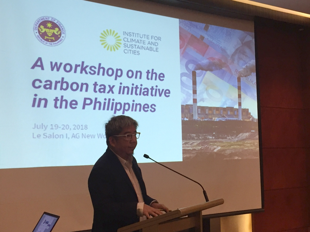 ICSC's Executive Director, Red Constantino, speaks at the Carbon Tax workshop held last July 19-20, 2018 at the AG New World Hotel in Manila.